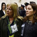 """Relatives react to the sentence read by the judges of the Third Court of Rome during the trial of South American military officers and civilians accused of collaborating in the forced disappearances and murder of Italian nationals, in a US-backed regional plan dubbed """"Operation Condor """", from the maximum security room of the Rebibbia prison in Rome on January 17, 2017.  Italian justice will rule today in the trial of 34 South American military officers and civilians accused of collaborating in the forced disappearances and murder of more than 40 political opponents, including Italian nationals, as part of a US-backed regional plan dubbed """"Operation Condor"""" during the dictatorships of the Southern Cone in the 1970s and 1980s.    / AFP PHOTO / FILIPPO MONTEFORTE"""